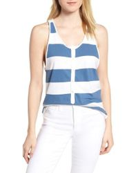 dc188429a8 Lyst - J.Crew Collection Rugby-stripe Sequin Tank Top in Blue