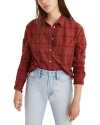 Madewell Plaid Oversize Ex-boyfriend Shirt - Red