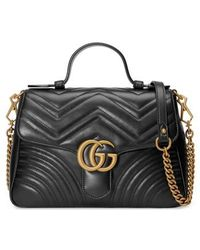 Gucci - Small Gg Marmont 2.0 Matelasse Leather Top Handle Bag - Lyst