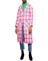 TOPSHOP - Suzy Check Side Split Jacket - Lyst
