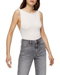 TOPSHOP Cream Scoop Back Bodysuit - Natural
