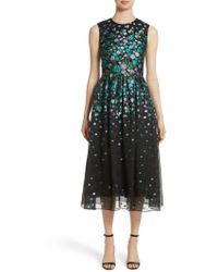 Lela Rose | Floral Matelasse Fit & Flare Dress | Lyst