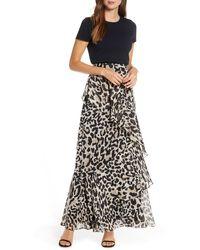 Eliza J Asymmetrical Ruffle Animal Print Maxi Skirt - Black