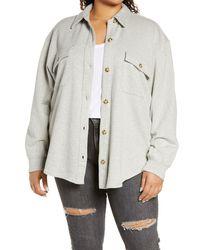 Treasure & Bond Knit Shirt Jacket - Gray