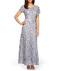 Alex Evenings - Sequin & Soutache Lace Gown - Lyst