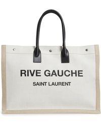 Saint Laurent - Noe Rive Gauche Logo Linen Tote - - Lyst