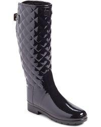 HUNTER Original Refined High Gloss Quilted Waterproof Rain Boot - Black