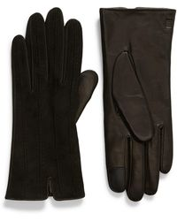 Frye Topstitched Leather Touchscreen Gloves - Black