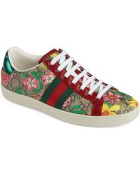 Gucci New Ace Gg Supreme Floral Sneaker - Natural