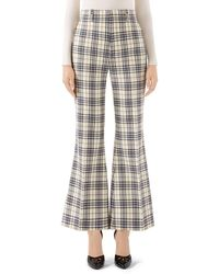 Gucci 70s Madras-checked Wool Fare Pants - Blue