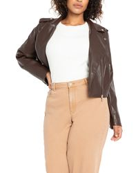 Eloquii Faux Leather Moto Jacket - Brown