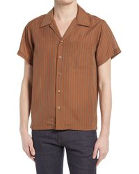 Naked & Famous - Naked & Famous Aloha Stripe Short Sleeve Button-up Camp Shirt - Lyst