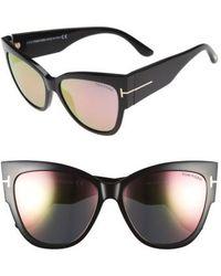 13c88041a0 Lyst - Tom Ford Anoushka Ft0371 01b Black Cat Eye Sunglasses in Black