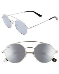 Web - 56mm Round Aviator Sunglasses - Shiny Palladium/ Smoke Mirror - Lyst