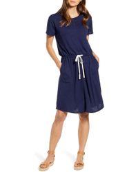 Caslon Caslon Cinched Waist T-shirt Dress - Blue