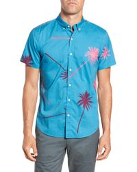 f8f4c279d8e J.Crew Short-sleeve Chambray Popover Shirt In Palm Tree Print in Red ...