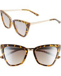 Quay Reina 52mm Mini Cat Eye Sunglasses - Tort/ Brown Flash