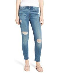 Jen7 - Ripped Ankle Skinny Jeans - Lyst