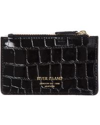 River Island Croc Embossed Faux Leather Card Holder - Black