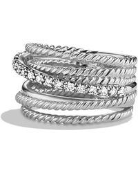 David Yurman - 'crossover' Wide Ring With Diamonds - Lyst