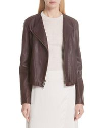 Vince - Zip Cross Front Leather Jacket - Lyst