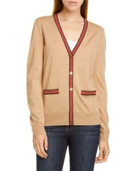 Tory Burch Madeline Wool V-neck Button-front Cardigan W/ Contrast Trim - Natural
