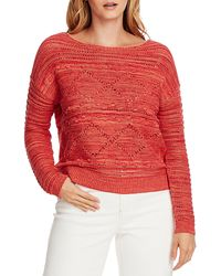 Vince Camuto Popcorn Stitch Cotton Sweater - Red
