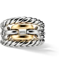 David Yurman - Wellesley Link Three-row Ring With 18k Gold - Lyst