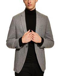 TOPMAN Edgar Skinny Fit Tweed Sport Coat - Gray