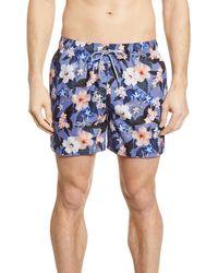 Ted Baker Inspect Floral Stripe Swim Trunks - Blue