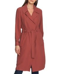 1.STATE Twill Tie Waist Trench Coat - Red