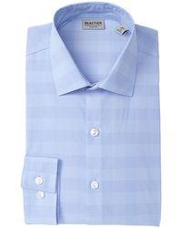Kenneth Cole Reaction Tonal Plaid Slim Fit Technicole Dress Shirt - Blue
