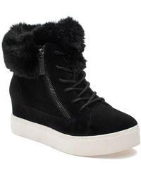 J/Slides Sarah Faux Fur Suede Sneaker Wedge Boot - Black