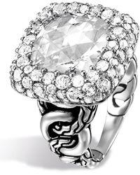 John Hardy Batu Klasik Sterling Silver Square Gemstone Ring - Size 7 - Metallic