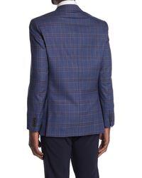 Ted Baker Jarrett Blue Plaid Two Button Notch Lapel Slim Fit Wool Sport Coat