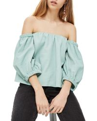 TOPSHOP - Laundered Bardot Top - Lyst