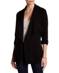 Heather by Bordeaux Long Fleece Tie Closure Jacket - Black
