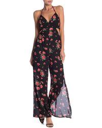 c8bf9f18c9a6 Dress Forum - Floral Cutout Wide Leg Jumpsuit - Lyst