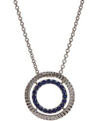 Bony Levy - 18k White Gold Sapphire & Diamond Circle Pendant Necklace - Lyst