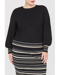 Rachel Roy Zuri Metallic Stripe Tie Sweater (plus Size) - Blue