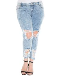 Slink Jeans Destroyed Boyfriend Jeans (amelia) (plus Size) - Blue