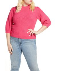 Leith Puff Sleeve Sweater - Pink