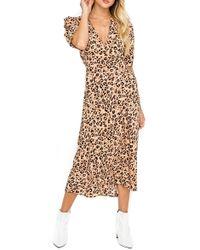 Astr Short Sleeve Back Cutout Midi Dress - Multicolor