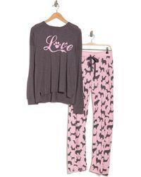 Cozy Zoe Love Dogs Long Sleeve Top & Pants 2-piece Pajama Set - Pink