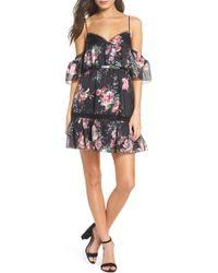 La Maison Talulah Belonging Floral Cold Shoulder Minidress - Black
