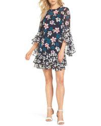Eliza J - Flounce Bell Sleeve Floral Chiffon Shift Dress (regular & Petite) - Lyst