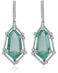 Judith Ripka Sterling Silver Martinique Organic Stone Hanging Earrings - Blue