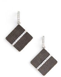 Freida Rothman - Rhodium Plated Sterling Silver Contemporary Deco Cz Drop Earrings - Lyst