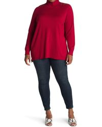 Joseph A Turtleneck Long Sleeve High/low Tunic - Red