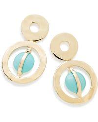 Ippolita 18k Gold Senso Wrapped Stone Snowman Earrings In Turquoise - Metallic